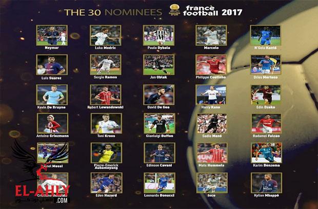 ثنائي أفريقي ليس من بينهم صلاح ضمن 30 لاعب مرشحين للكرة الذهبية - الأهلي.كوم